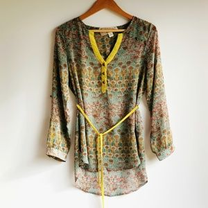 NICK + MO floral green/grey belted tunic size S